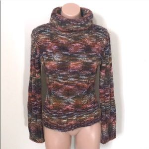 Express Multi Colored Ribbed Turtleneck Sweater